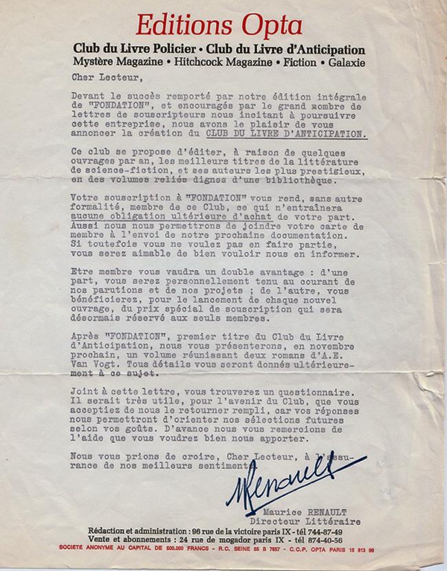 La lettre annonçant la création de la collection
